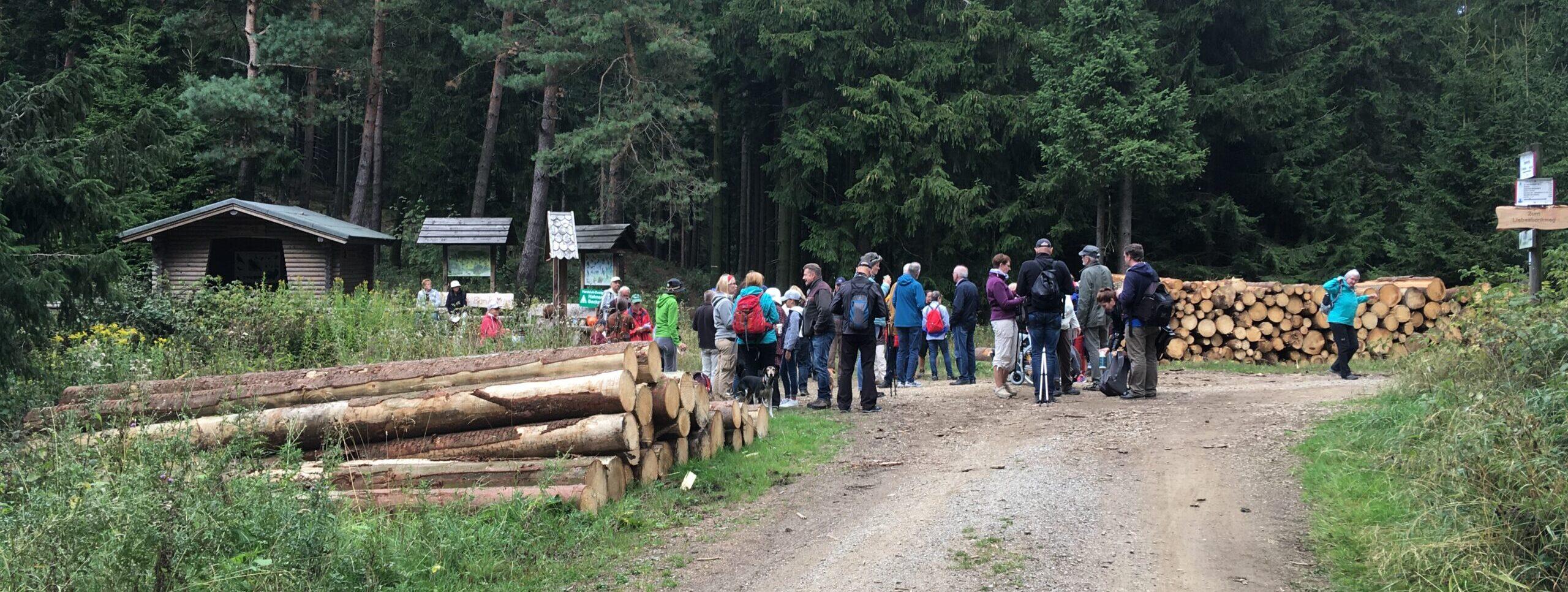 """Eine Wandergruppe hält eine Rast an einem offenen Platz im Wald. Diese """"Passhöhe"""" der ehemaligen alten Garzstrasse heisst Windsattel.Eine Schutzthütte, mehrere Infotafeln und 2 große Holzstapen sind erkennbar."""