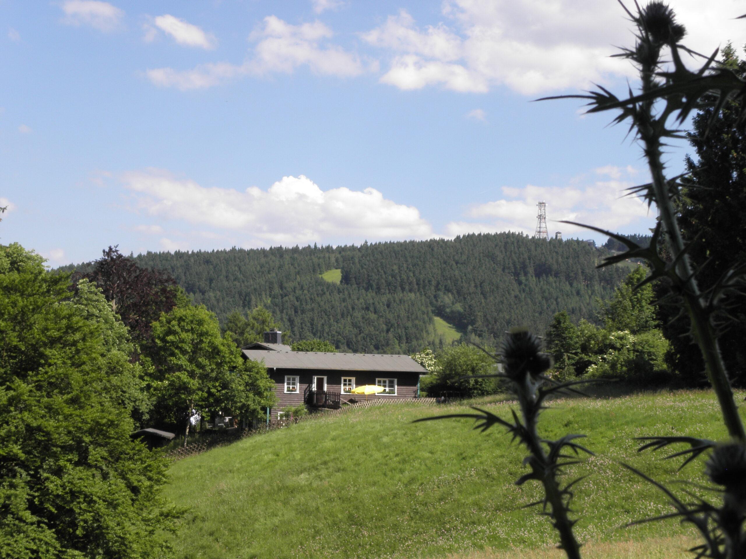 Im Vordergrund befindet sich eine große Bergwiese. Dahinter liegt ein Haus am Waldrand. Im Hintergrund ist der Bocjsberg mit Turm erkannbar